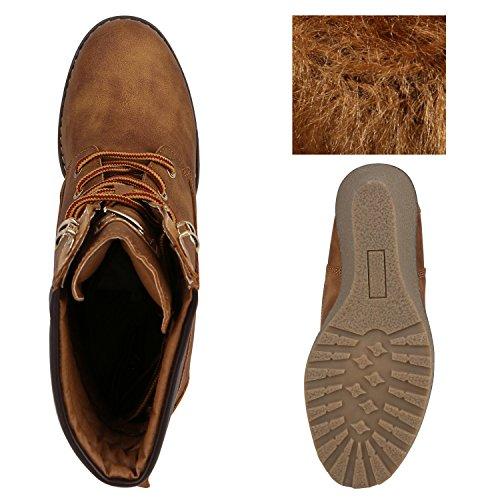 Stiefelparadies Gefütterte Damen Stiefeletten Keilabsatz Boots Profilsohle Flandell Hellbraun Metallic