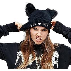 EVRFELAN Black Cat Ears Embroidered Warm Knit Beanies