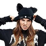 EVRFELAN Black Cat Ears Hats Embroidered Warm Knit Crochet Beanies Wool Cute Fashion Skull Cap for Women Girls in Fall Winter