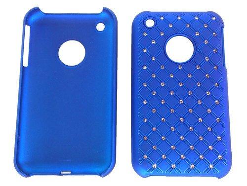 Zirkonia, Kunststoffhülle, Hülle für Apple iPhone 3, 3G, 3GS Blau, Hardcase, Strass Glitzer, Schimmernde Steine Glamour, Schutzhülle aus Kunststoff, Schutzschale, Schale, Schutz