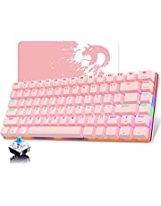 Hoopond Mechanical Keyboard, AK33 Rainbow LED Backlit USB Cable Gaming Mechanical Keyboard, 82-Key Compact Mechanical Gaming Keyboard with Anti-ghosting Keys for Gamers & Typists(