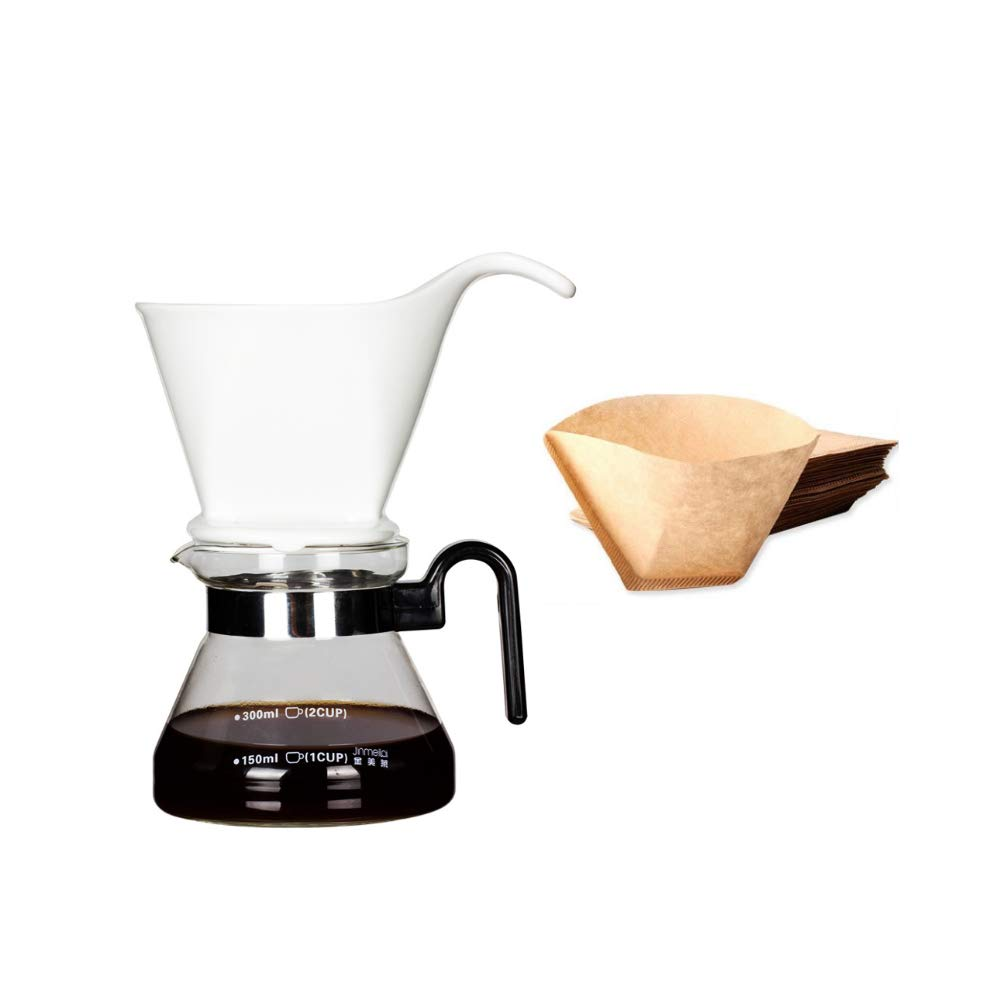 Fivtyily Ceramic Pour Over Coffee Dripper Coffee Maker Paperless Filter with Standard (Cup Set)