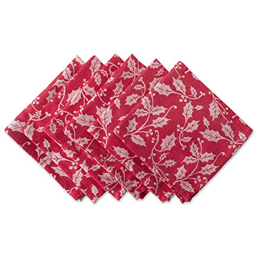 """DII Oversized 20x20"""" Cotton Napkins, Pack of 6, Holly Flourish - Perfect for Dinner Parties, Christmas, Holidays, or Everyday use"""