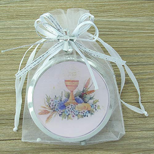 First Communion Compact Mirror Party Favor (12 PCS) with Decorated Organza Bags - Primera Comunion Recuerdos/Gift for Guests]()