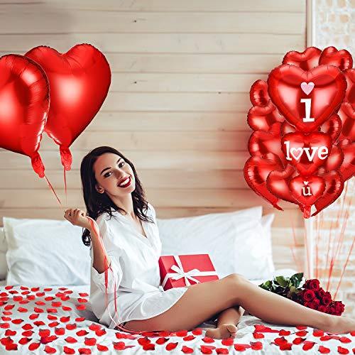 2 Globo I Love U de Coraz/ón Aluminio con 3000 P/étalo de Rosa de Seda Rojo Oscuro P/étalos Artificiales para Adorno Regalo Boda Cumplea/ños Kit de Decoraciones de San Valent/ín 14 Globo de Coraz/ón Rojo