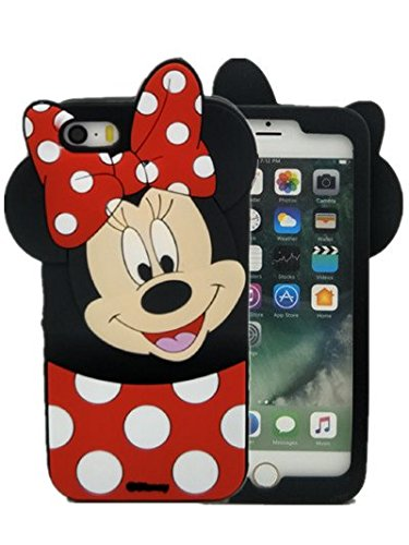 Price comparison product image iPhone 5/5s/5se Case, kiyogoods Fashion Cute Cartoon disney mickey mouse Minnie Black 3D silicone Kids Teens Girls Women Protective carrying Case for Apple iPhone 5/5s/5se (minnie)
