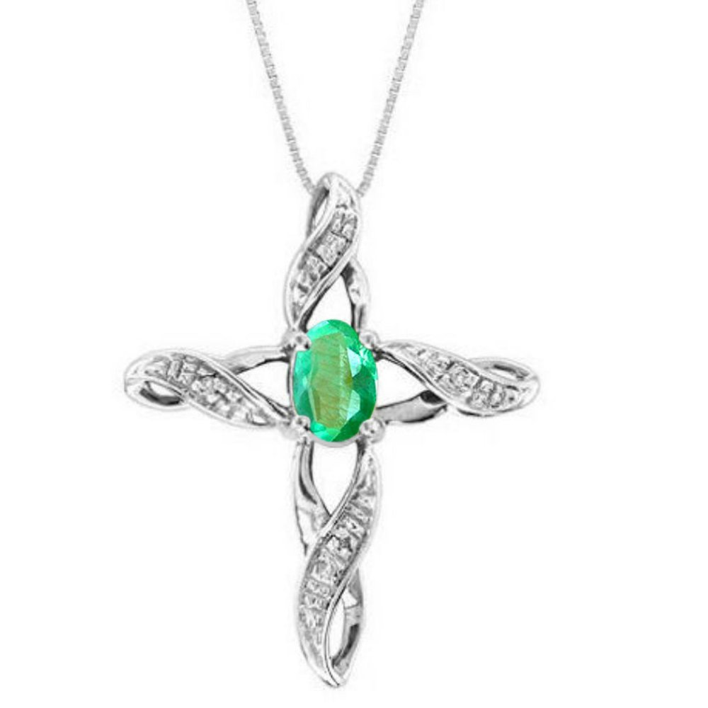 Diamond & Emerald Cross Pendant Necklace Set In Sterling Silver .925 with 18'' Chain