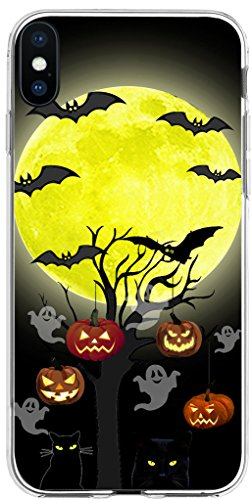 Case for Phone Xs & Case for Phone X & MUQR Flexible Gel Silicone Slim Drop Proof Protection Cover Compatible with iPhone Xs(10S) & X(10) & Halloween Pumpkin Cat Bat Design -