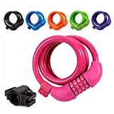 Titanker Bike Lock, 4ft Security Resettable Combination Coiling Bike Cable Locks with Mounting Bracket, 1/2 Inch Diameter (Pink)