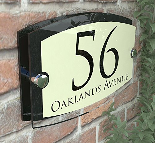 MODERN HOUSE SIGN PLAQUE DOOR NUMBER STREET GLASS EFFECT ACRYLIC ALUMINIUM NAME Esteem Vintage Pearl
