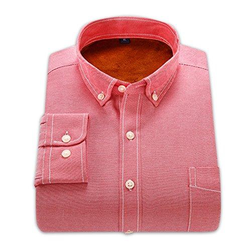 Velours Oxford Textile Homme D'hiver Allthemen Intérieur Manches Chemise 1 Longues Chaud Rouge 8q1q5g