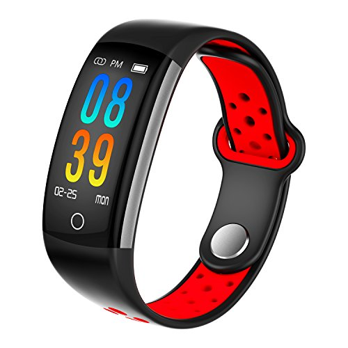 Fitness Tracker, Dosmix Activity Watch with Heart Rate, Blood Pressure and Respiratory Frequency Monitor, IP 68 Swimming-Wearable with Calorie Steps Sleeps Monitor for Women Kids Men/Android iOS(Red) by Dosmix