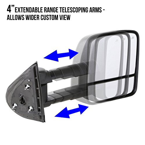 Black For Chevy Silverado//GMC Sierra GMT800 Pair of Powered Heated Manual Extended Arm Towing Side Mirrors