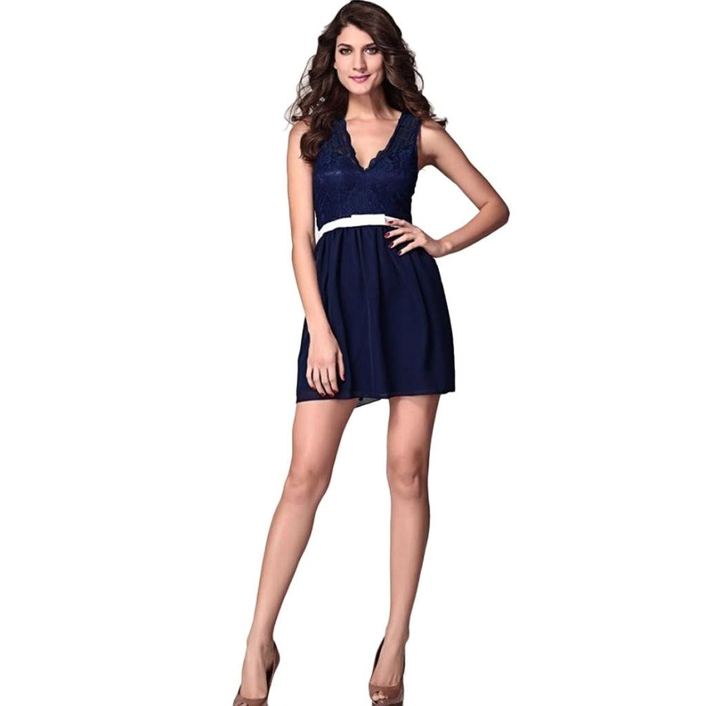 Women Sexy Lace V-Neck Sleeveless Mini Hem Dress