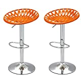2015 NEW Product!! Adeco Adjustable Height Bar Counter Tractor-Like Seat Stools, Set of TWO, 360 Degree Rotation, Mexico-Inspired, Modern Home Accents, orange