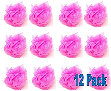 Amazon.com: 12 esponjas de baño o ducha rosas de malla ...