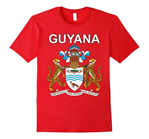 Mens Guyana National Coat of Arms Crest T-shirt XL Red - National Coat Of Arms