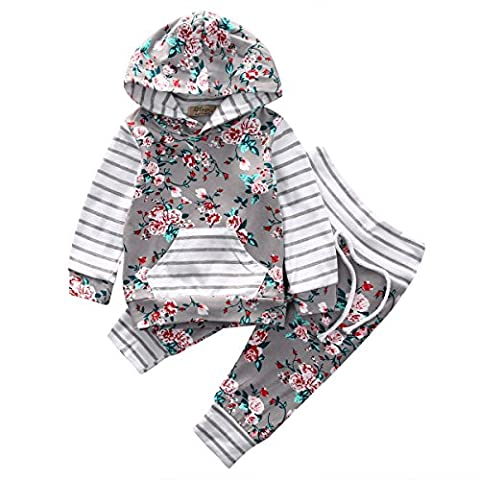 Baby Girl 2pcs Set Outfit Flower Print Hoodies with Pocket Top+Striped Long Pants (0-6M, Grey) (Y Clothes)