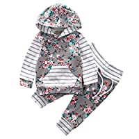 Baby Girl 2pcs Set Outfit Flower Print Hoodies with Pocket Top+Striped Long P...