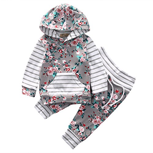 Toddler Set - Baby Girl 2pcs Set Outfit Flower Print Hoodies with Pocket Top+Striped Long Pants (2-3T, Grey)