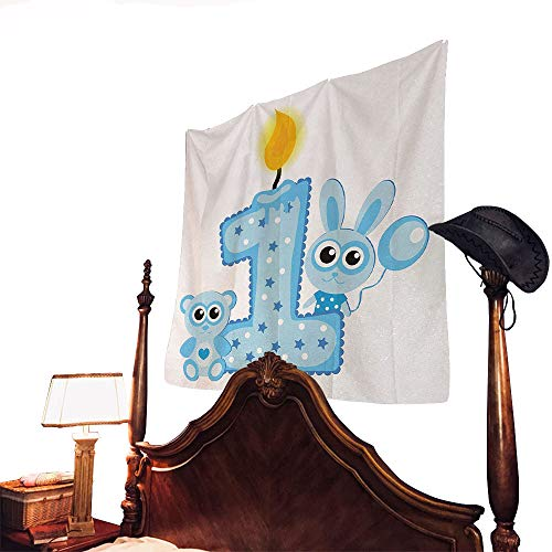 (letterson 1st Birthday Tapestry Boys Party Theme with a Cake and Candle Rabbit and Bear AnimalsBaby Blue and Pale Blue 79