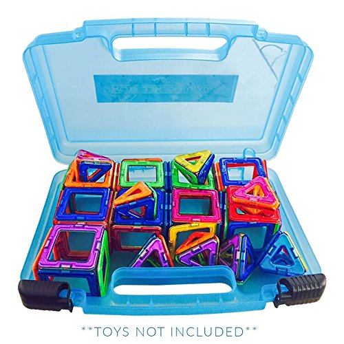 Life Made Better Magnetic Carrying Case, Compatible with Magformers and Magna Tiles, Playset Organizer (Blue)  Construction Duty Floor Puzzle