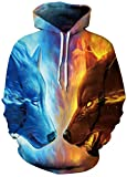 ice and fire - FLYCHEN Men's Digital Print Sweatshirts Hooded Top Galaxy Pattern Hoodie 2XL/3XL Ice Fire Wolf