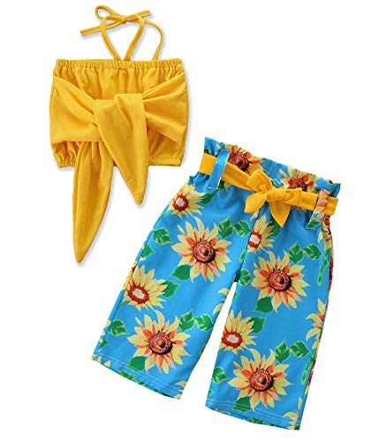 1-6T Baby Girl Pleated Wide Leg Palazzo Pants Outfits Halter Straps Off Shoulder Floral Vest Tops 2pcs Fall Outfit (Sunflower, 3-4 Years) ()