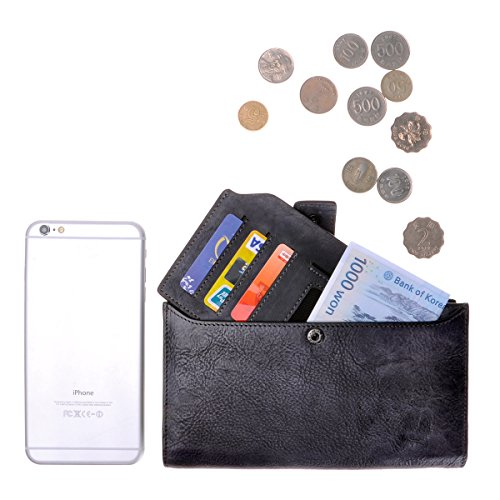 Wallet with Long Removable Clutch Gray Handmade Holder Dye Card Leather ZLYC Dip Retro F0q0AaZ