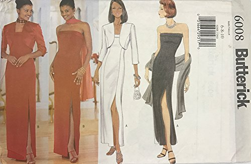 Column Strapless Sheath (Butterick 6008 1990s Strapless Sheath Dress Shrug Pattern Bust 30-32)
