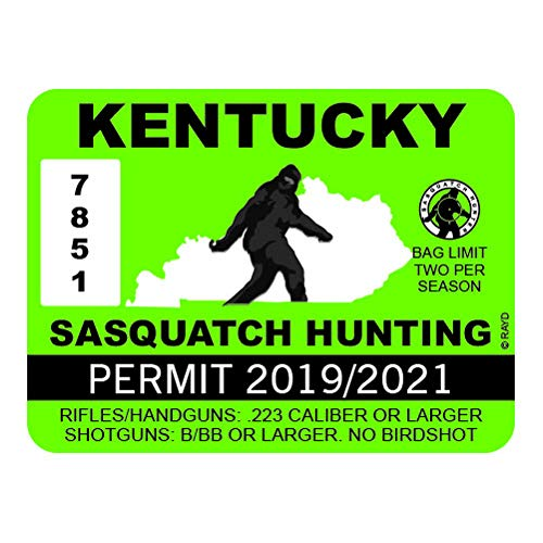 "RDW Kentucky Sasquatch Hunting Permit - Color Sticker - Decal - Die Cut - Size: 4.00"" x 3.00"""
