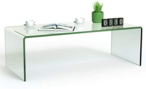 Amazon Com Tangkula Glass Coffee Table 42 5 L 20 W 14 H Acrylic Coffee Table Clear Tempered Glass Coffee Table International Occasion Tea Table Waterfall Table With Rounded Edges Clear Glass Kitchen
