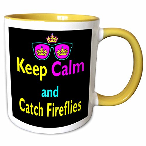3dRose Dooni Designs CMYK Hipster Designs - CMYK Keep Calm Parody Hipster Crown And Sunglasses Keep Calm And Carch Fireflies - 11oz Two-Tone Yellow Mug - Sunglasses Firefly