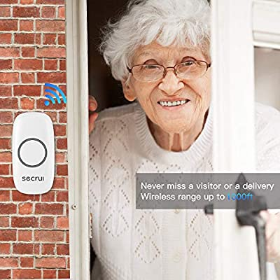Wireless Doorbell, Secrui Wireless Door Bell Kit with 2 plug in receiver and 1 push button operated over 1000ft, Led indicator with mute mode