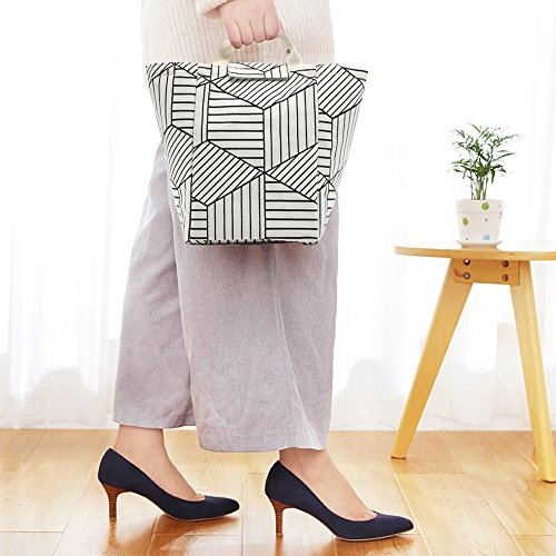 linkes Reusable Printed Lunch Bag, Non-Toxic Eco-Friendly Canvas Fabric Insulated Waterproof Aluminum Foil, Lunch Box Tote Handbag for Women, Students Bento Cooler Bag(White Rhombus Strips)