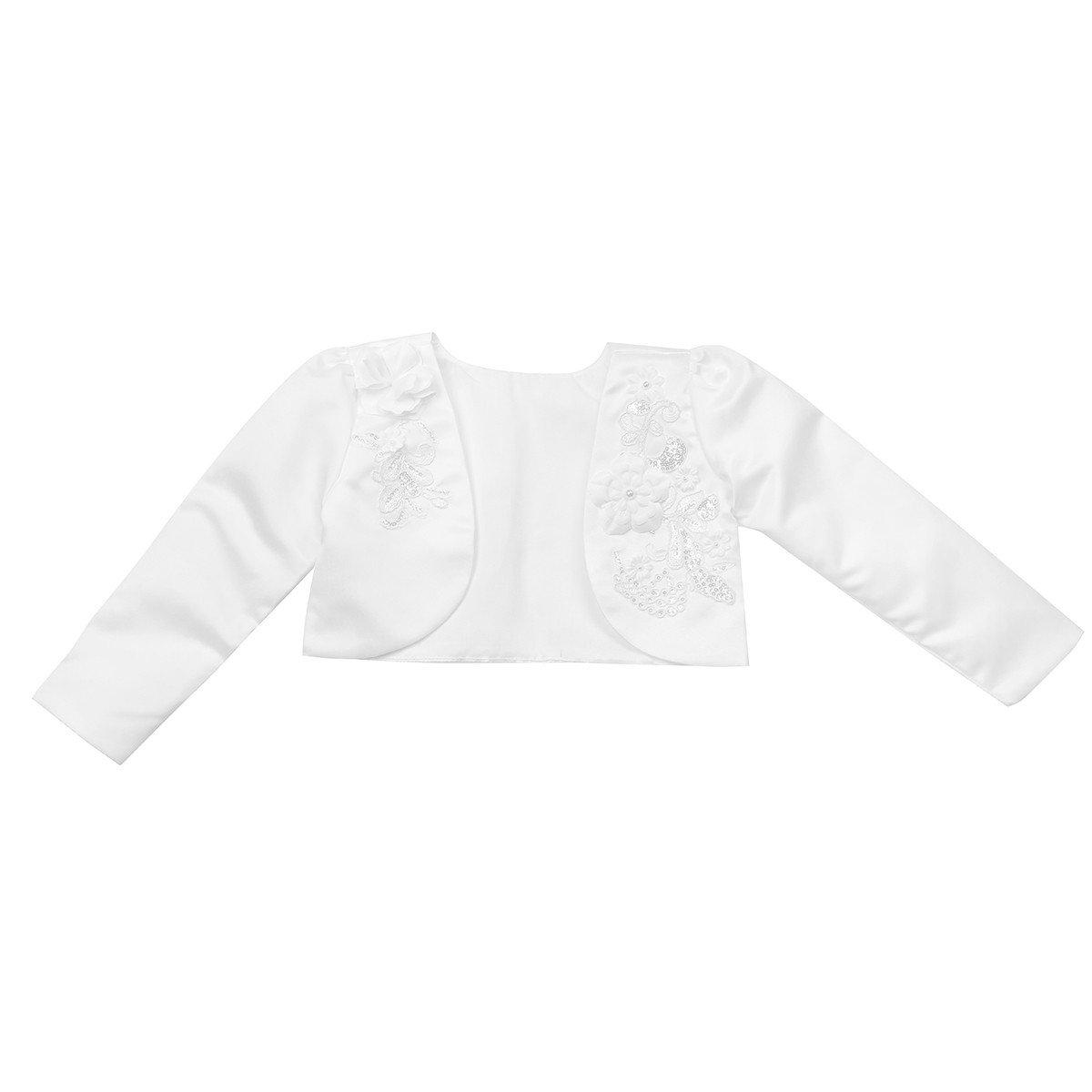 FEESHOW White Kids Girls Long Sleeves Bolero Jacket Shrug Short Cardigan Sweater Dress Cover Up
