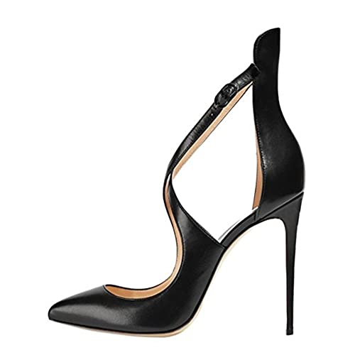 c24baca038c onlymaker Women's Pointed Toe Crisscross Strappy High Heels Stiletto Pumps  Ladies Ankle Strap Party Wedding Dress Shoes
