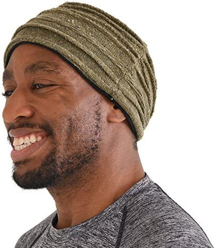CHARM Organic Cotton Turban Headband Mens Knit Ear Warmer Womens Chemo Hair Wrap