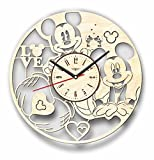 7ArtsStudio Mickey Mouse Wall Clock Made of WOOD - Perfect and Beautifully Cut - Decorate your Home with MODERN ART - UNIQUE GIFT for Him and Her - Size 12 Inches