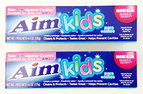 Aim Kids Gel Fluoride Toothpaste - Mega Bubble Berry 4.4 oz. (Pack of 2) ()