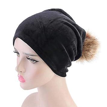 dcbc950b Amazon.com: Fheaven Women Winter Warm Velvet Hats Warmer Beanie Casual Ski  Pompom Caps (Black): Beauty