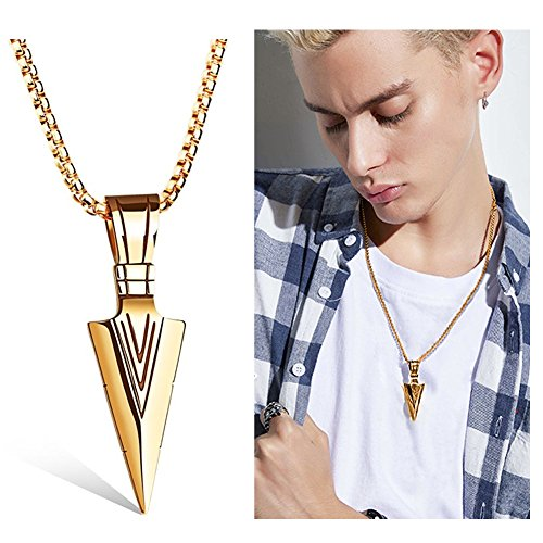Wowastyle Retro Stainless Steel Arrowhead Pendant Necklace Spearhead Necklace For Men Gold