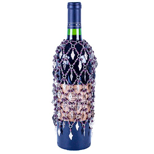 Purple Beaded Wine Bottle Cover or Skirt with Silver Grapes