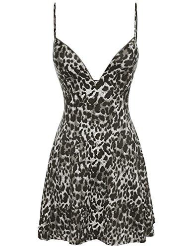 Leopard Print Spaghetti (Awesome21 Leopard Print Spaghetti Strap Party Dress Black Size M)