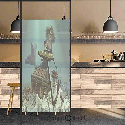 3D Decorative Privacy Window Films,Mermaid in The Ocean Sea Discovering Pirates Treasure Chest Mythical Art Print,No-Glue Self Static Cling Glass Film for Home Bedroom Bathroom Kitchen Office 17.5x71