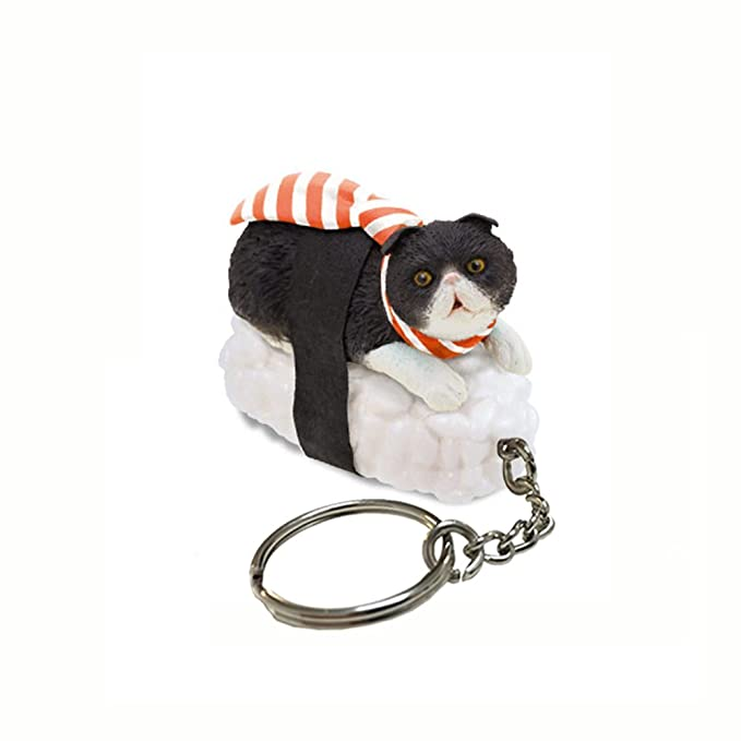 Sushi Cat Clever Idiots Nekozushi Keychain - Blind Box Includes 1 of 5 Collectable Figurines - Features a Detachable Keyring - Authentic Japanese ...