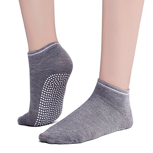 Women Socks Non Slip Cotton Yoga Socks With Grips for Ballet, Pilates and Dance Workout(Grey)