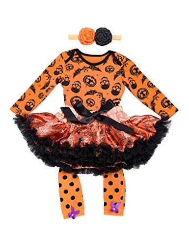 Halloween Outfits for Baby Girls – 4 Pieces Newborn Pumpkin Costume Romper Tutu Dress Set, XL( 12-24 months), Orange