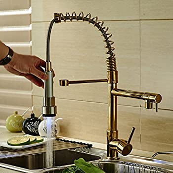 Rozin Gold Finish LED Light Pull Down Spray Kitchen Sink Faucet Swivel  Spout Mixer Tap