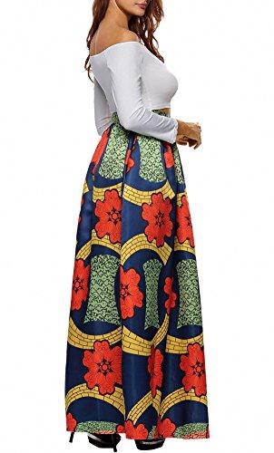 Afibi Femmes Africain Imprim Dcontracte Maxi Jupe vas Jupe Multisize Une Ligne Jupe (S-3XL) Modle 6